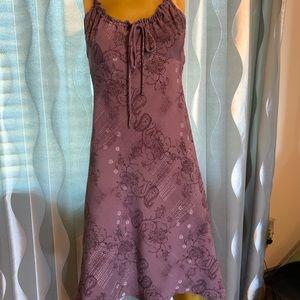 Flowing paisley purple mini dress